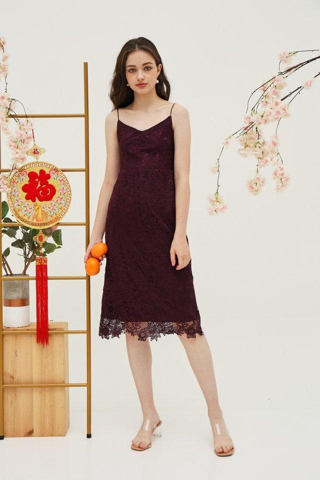 Juliet Premium Lace Midi Dress in Deep Purple