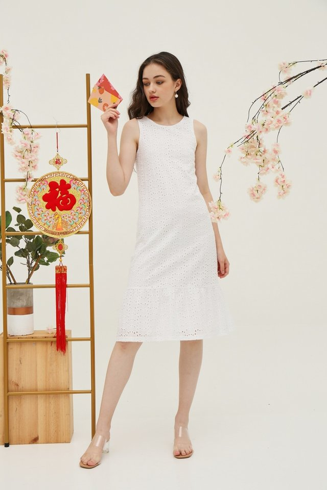 Yvette Premium Eyelet Dropwaist Midi Dress in White