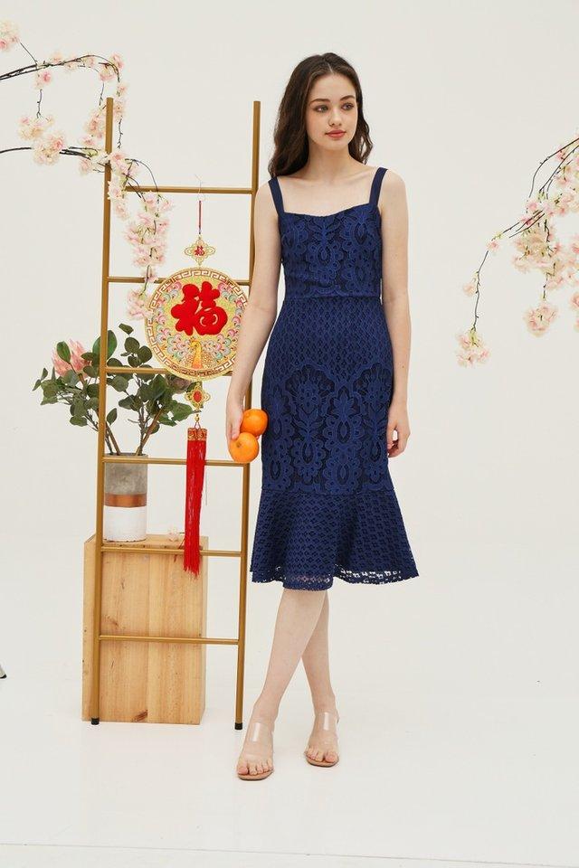 Jori Premium Lace Dropwaist Midi Dress in Navy