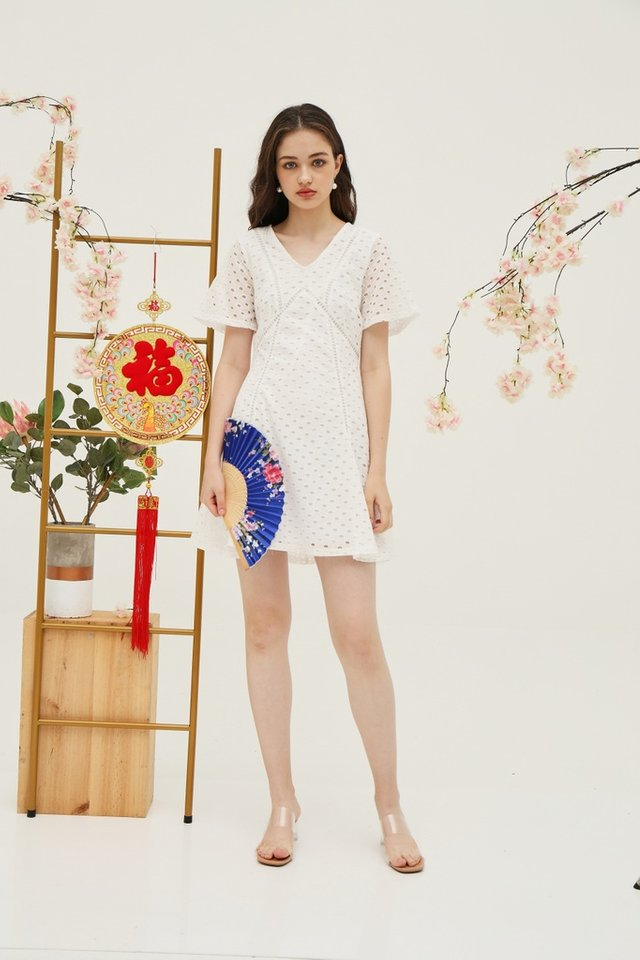 Bonita Premium Eyelet Skater Dress in White