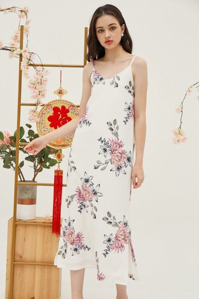 Jeanie Floral Maxi Dress in White
