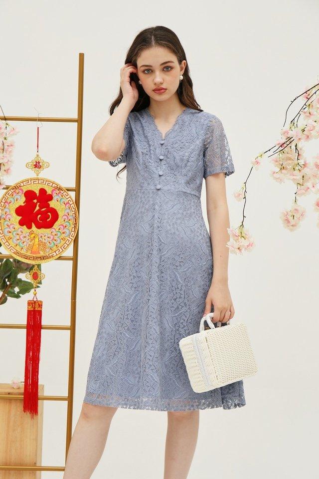 Trina Premium Lace Button Midi Dress in Blue (XS)