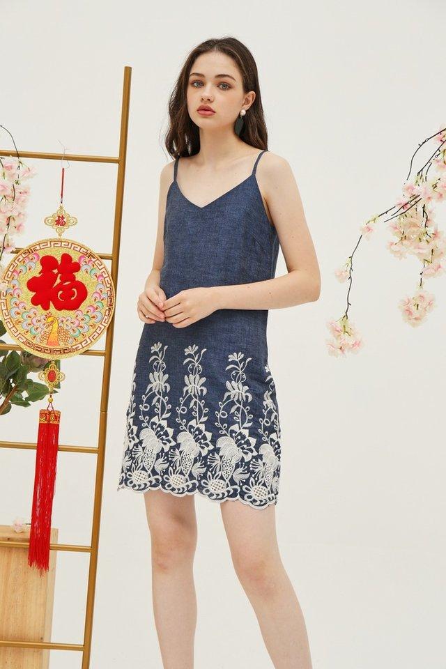 Eleanor Denim Embroidery Dress in Blue