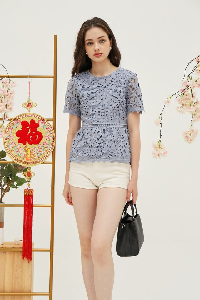 Nanette Crochet Peplum Top in Blue