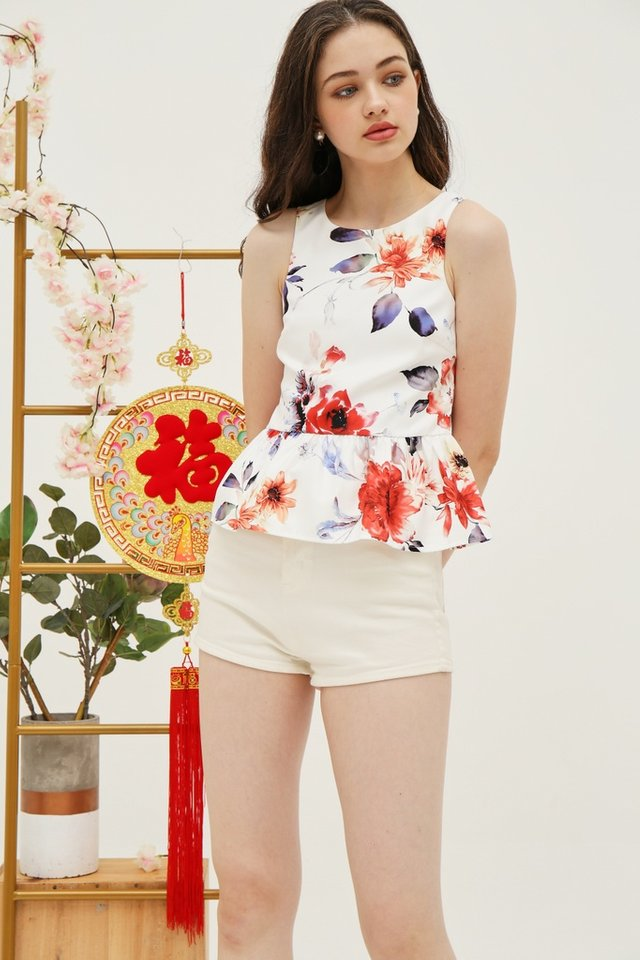 *Online Exclusive* Shavonne Floral Peplum Top in White (XS)