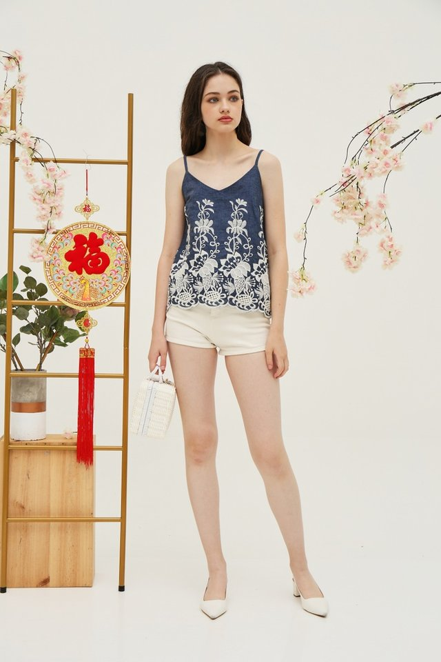 Edith Denim Embroidery Top in Blue (XS)