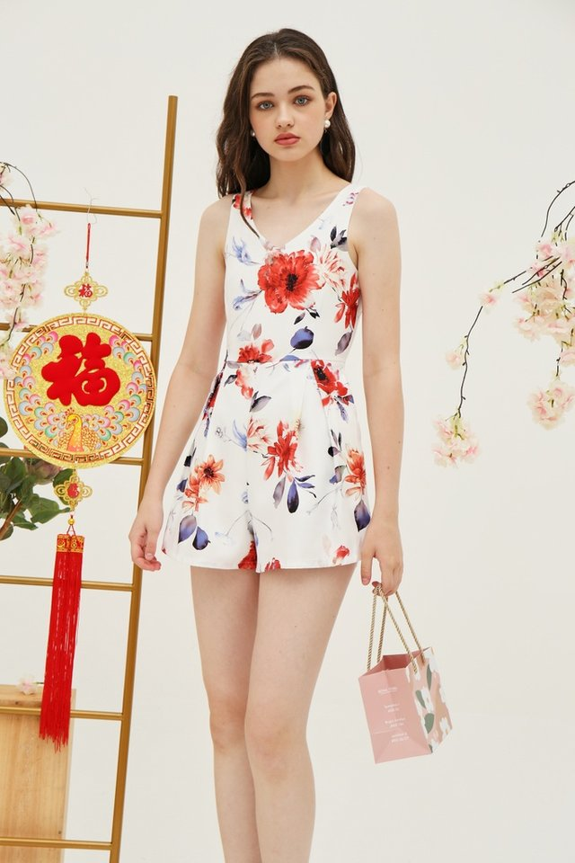 *Online Exclusive* Stacey Floral Pocket Romper in White (XL)