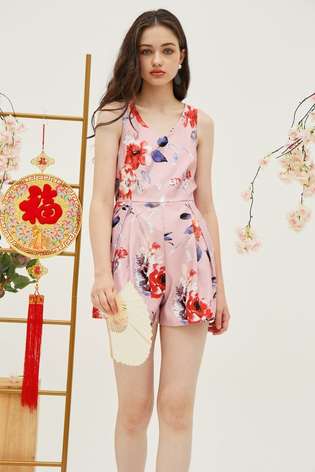 *Online Exclusive* Stacey Floral Pocket Romper in Pink (XS)