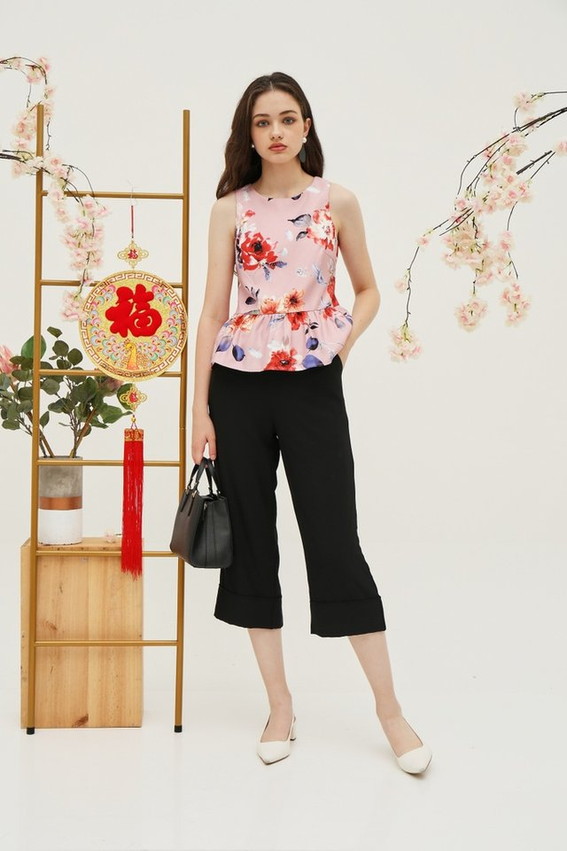 *Online Exclusive* Shavonne Floral Peplum Top in Pink (XS)