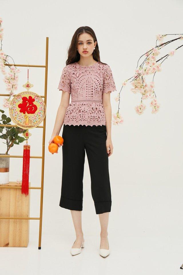Nanette Crochet Peplum Top in Pink