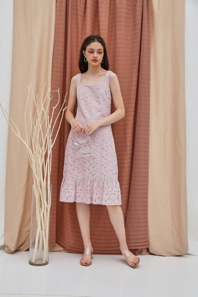 Zabel Premium Lace Midi Dropwaist Dress in Pink