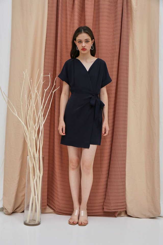 Valetta Sleeved Wrap Dress in Navy