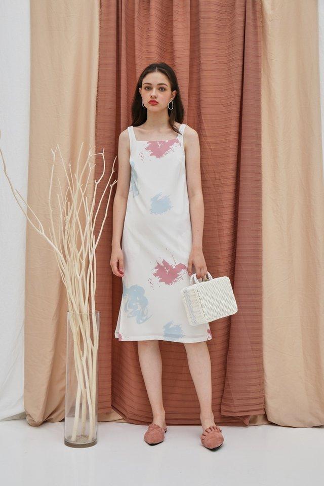 Haley Watercolour Square Neck Midi Dress in White