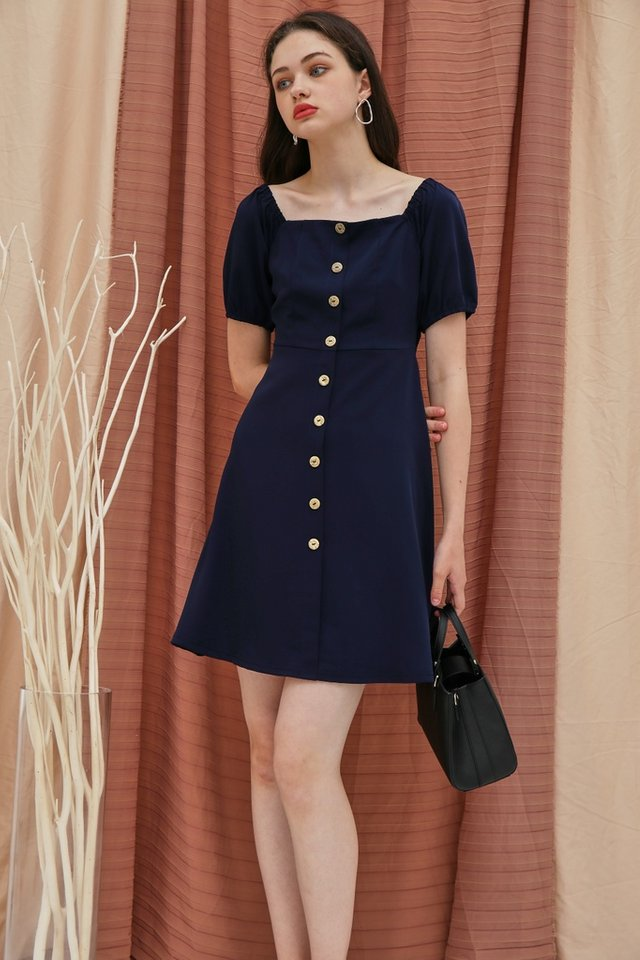 Dacey 2 Way Button Square Neck Dress in Navy (XS)