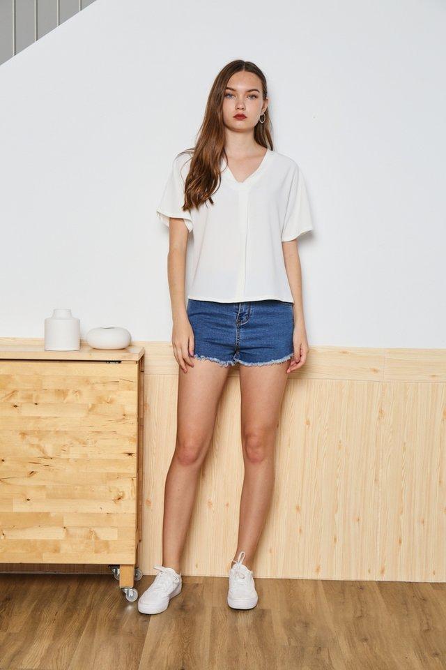 Victoria Sleeved V-Neck Top in White