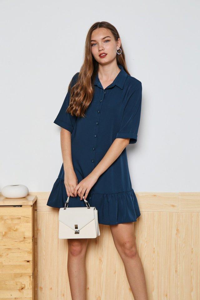 Joelle Collar Shirt Dropwaist Dress in Teal