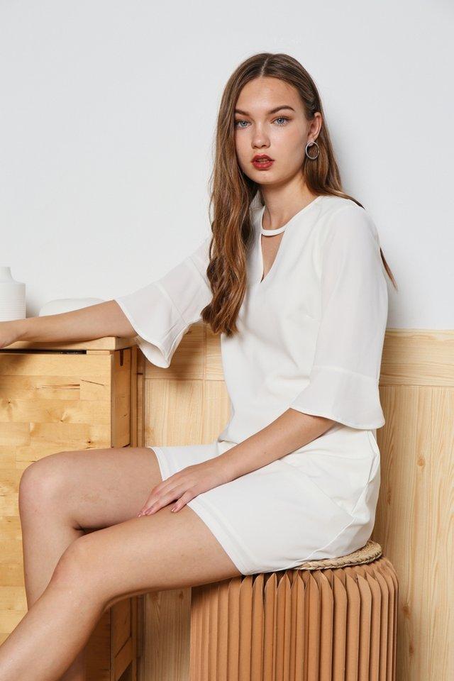 Zoey Keyhole Flutter Sleeved Dress in White