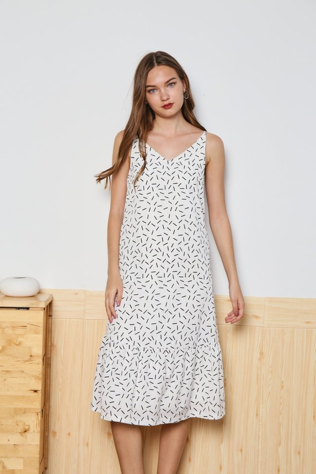 *Online Exclusive* Allaire Printed Ruffles Hem Dress in White