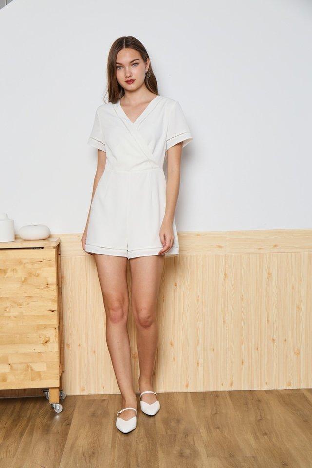 Nicole Eyelet Trim Romper in White