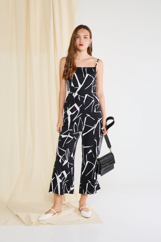 Veda Abstract Wide Leg Jumpsuit in Black