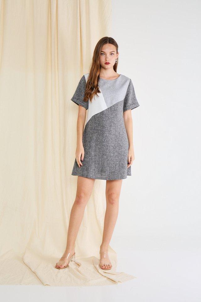 Melany Colourblock Tweed Dress in Grey