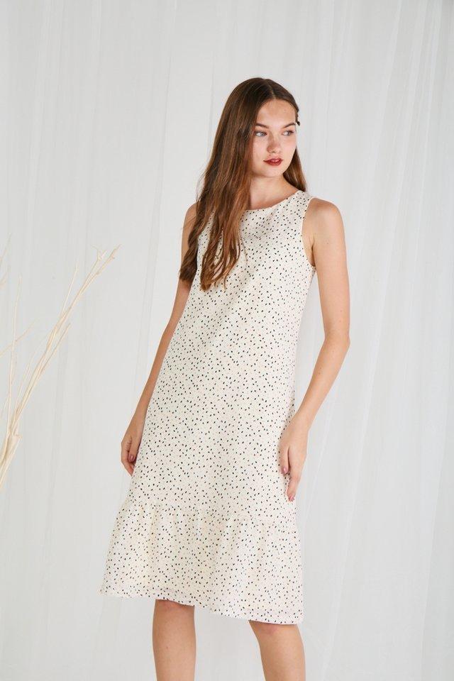 *Online Exclusive* Jayla Ruffles Hem Dropwaist Midi Dress in Cream