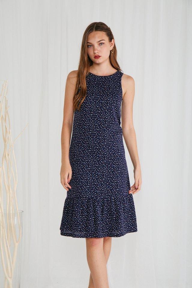*Online Exclusive* Jayla Ruffles Hem Dropwaist Midi Dress in Navy (XS)