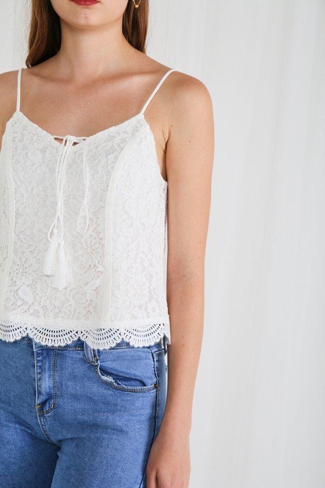 Kimora Lace Ribbon Camisole Top in White