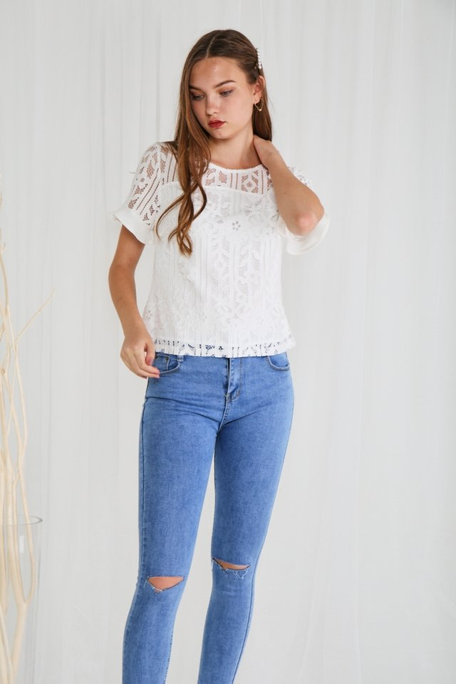 Christina Lace Sleeved Top in White