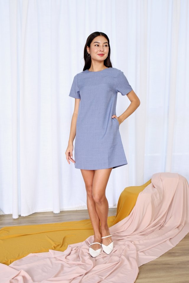Asher Pocket Shift Dress in Denim Blue