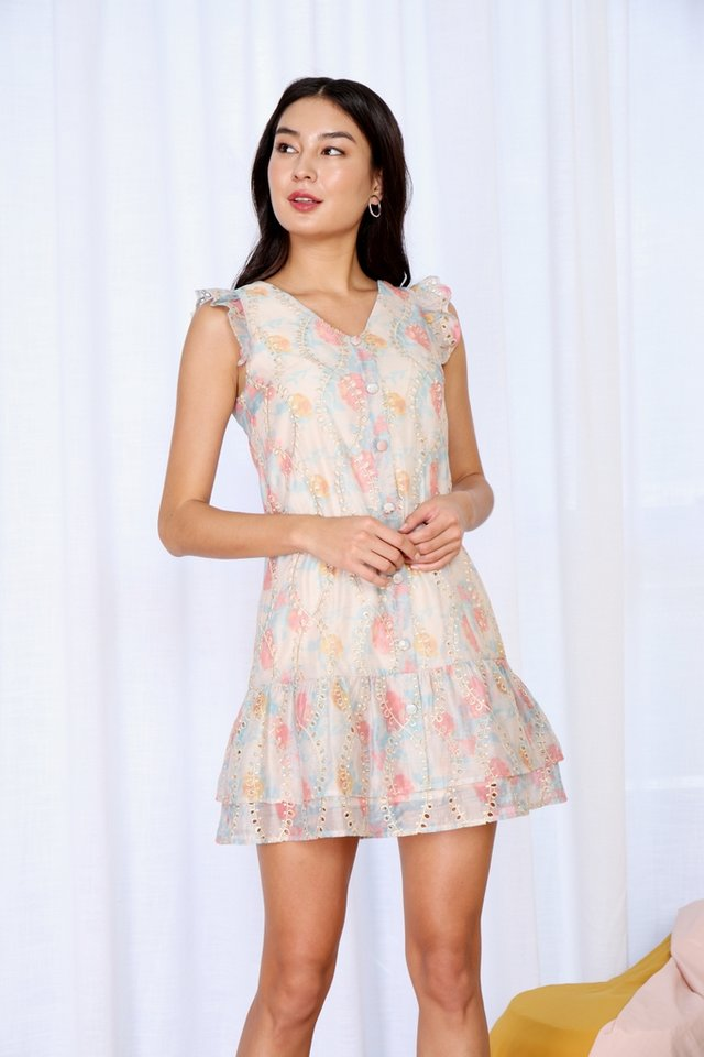 Tate Embroidered Tiered Hem Dress