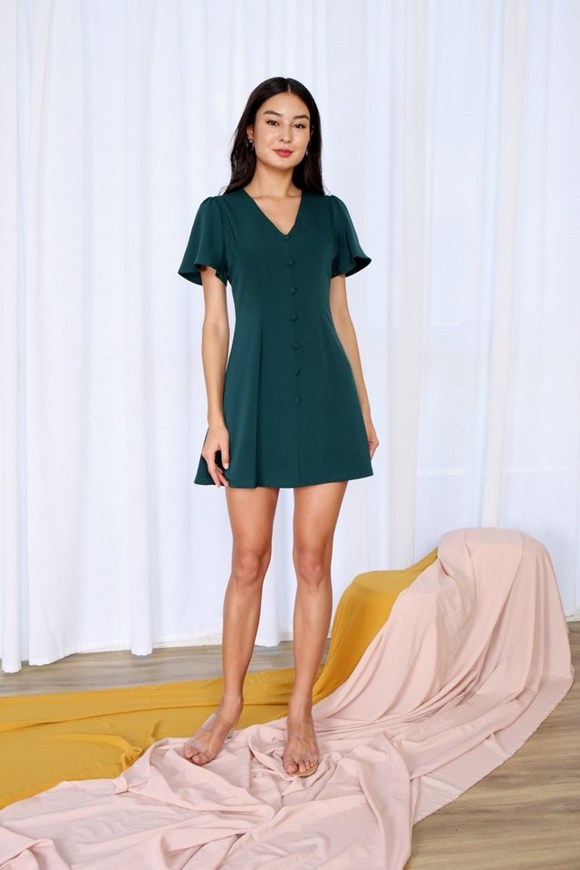 Jubilee Button V-Neck Dress in Forest