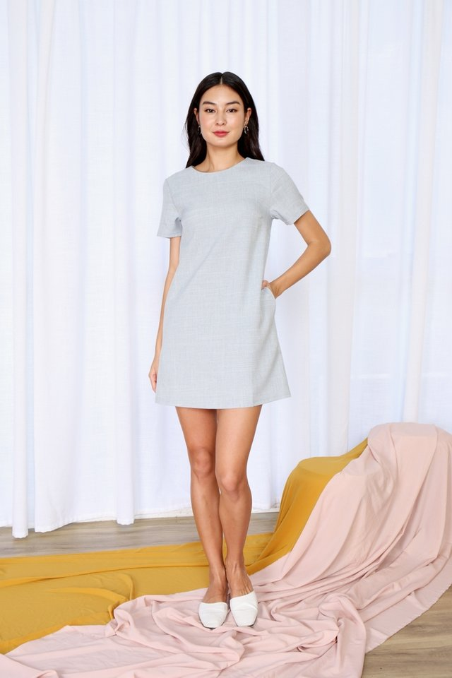 Asher Pocket Shift Dress in Pastel Blue