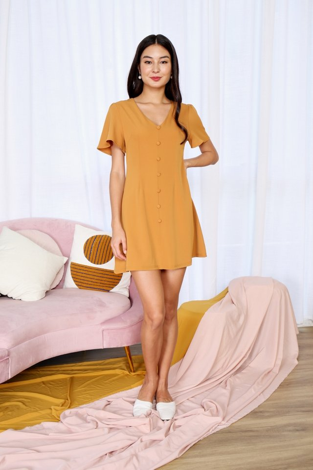 Jubilee Button V-Neck Dress in Mustard