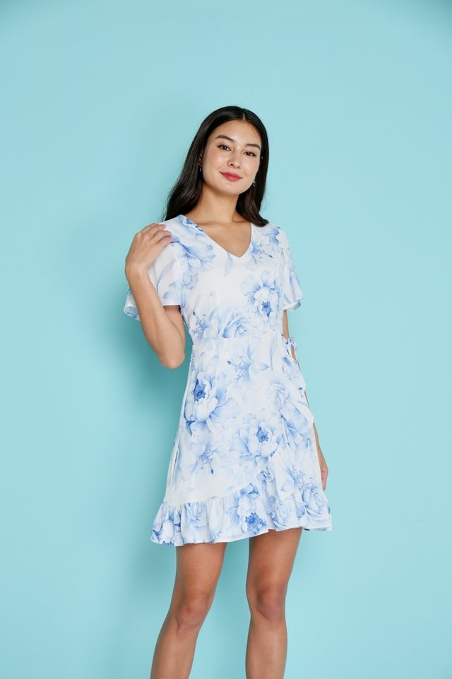 Cali Romantic Floral Signature Ruffles Dress