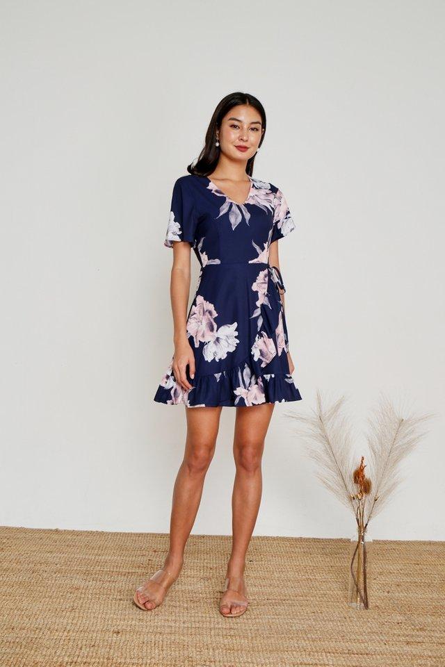 Danna Floral Signature Ruffles Dress in Navy