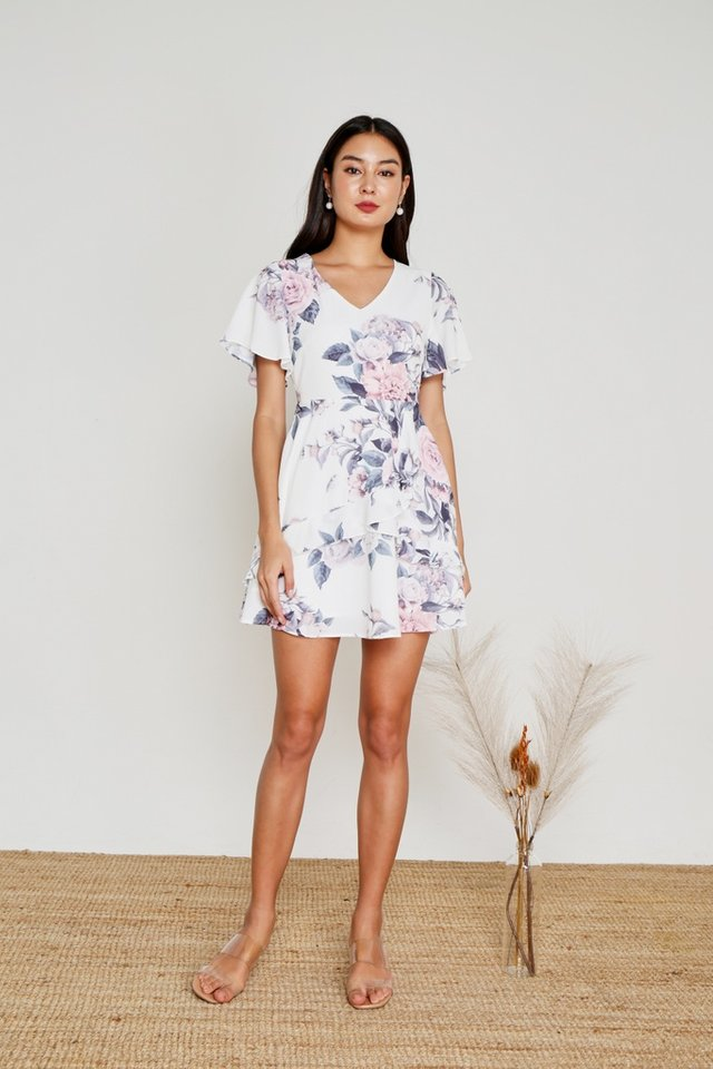 Mila Floral Signature Ruffles Dress in White