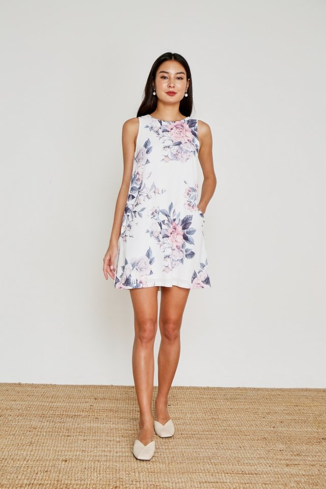 Fiona Floral Sleeveless Shift Dress in White