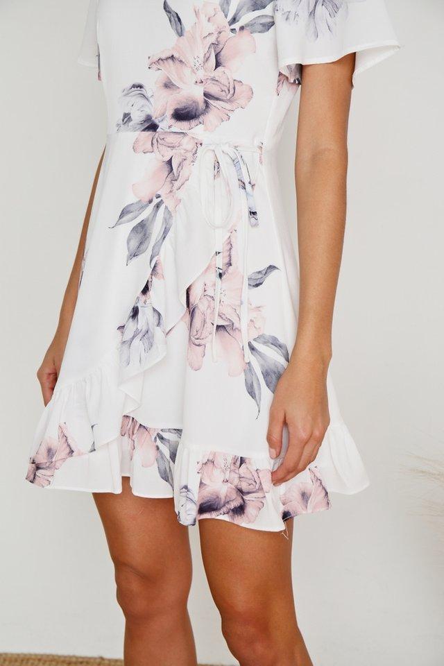 Danna Floral Signature Ruffles Dress in White