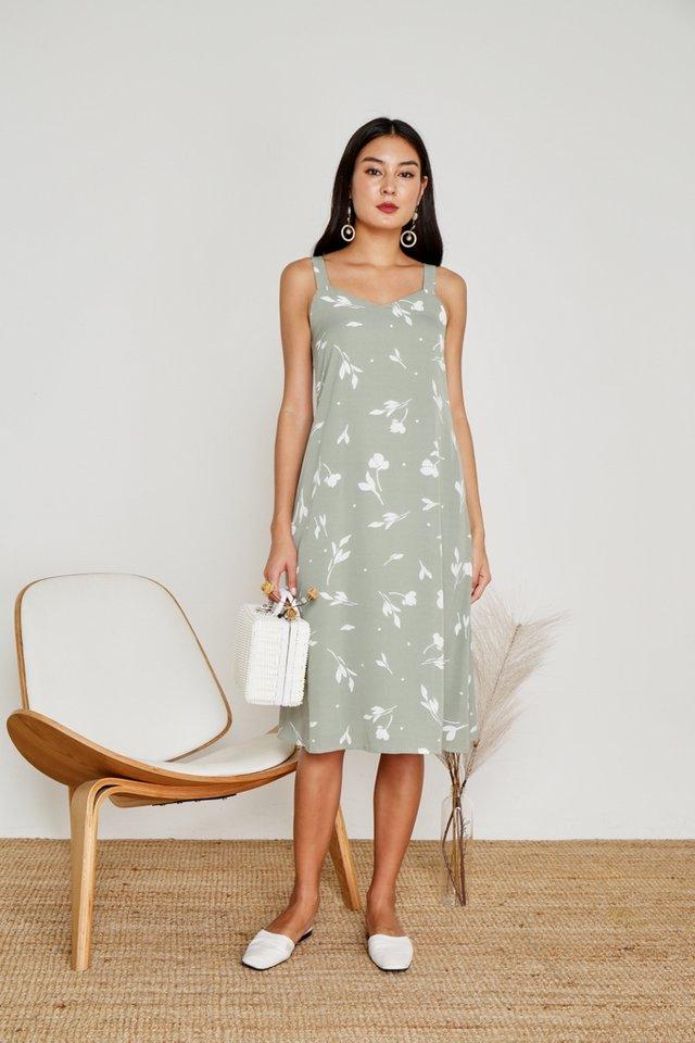 Amanda Leafy Midi Dress in Sage