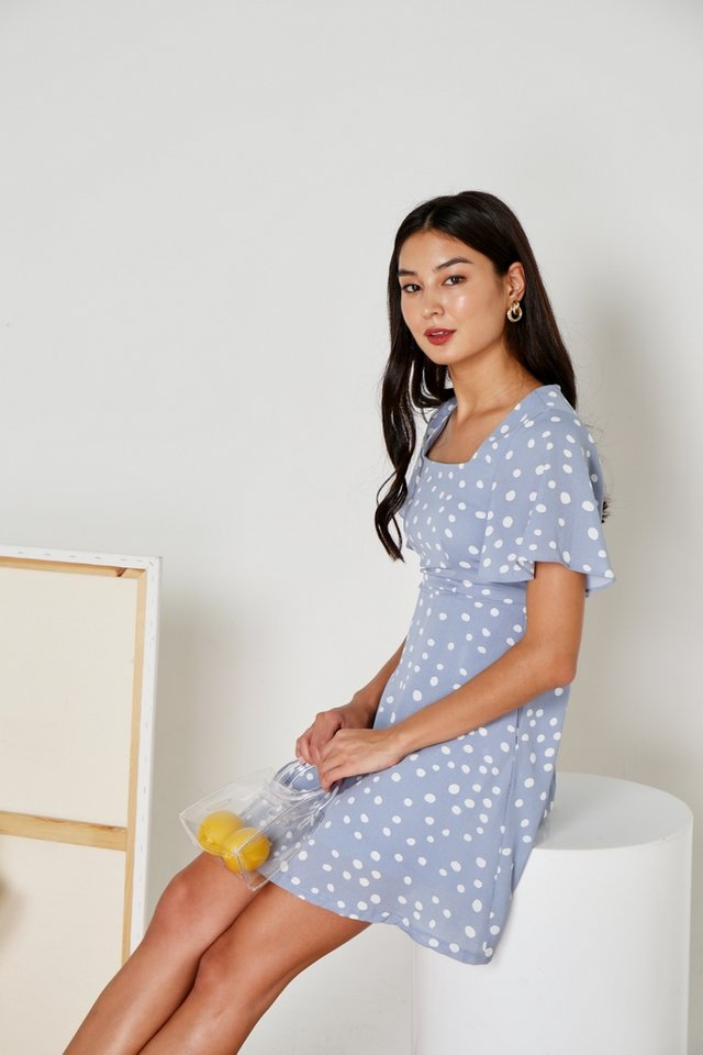 Genny Polka Dot Square Neck Dress in Powder Blue (XS)