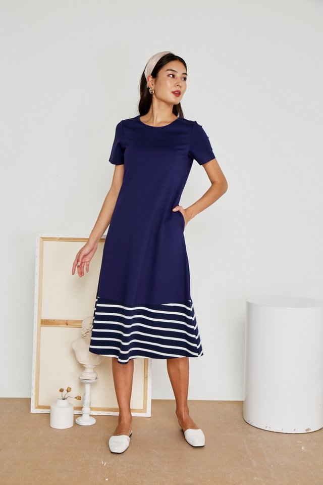 Charlotte Striped Hem Midi Dress