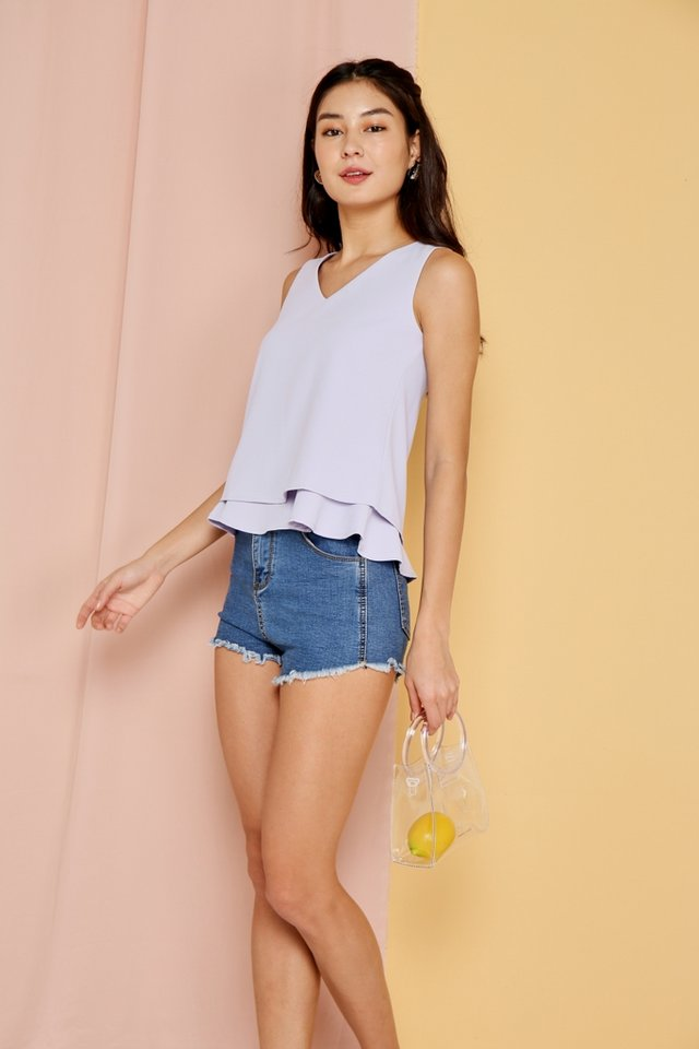 Narelle Tiered Hem Top in Lilac