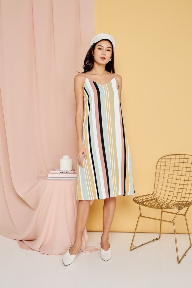 Rosella Multi Striped Midi Dress in Sage