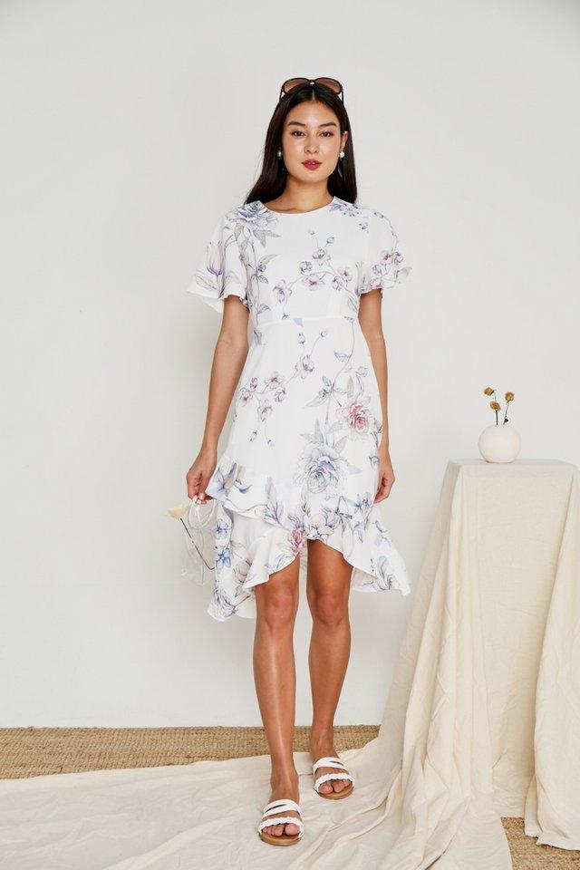 Aleena Floral Petal Hem Midi Dress in White