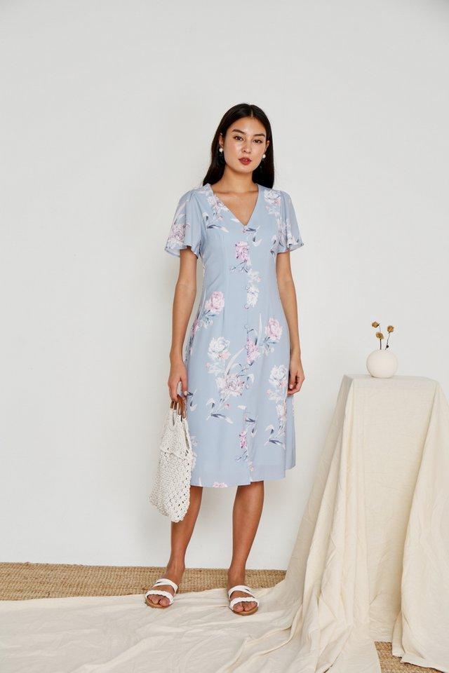 Levona Floral Button Midi Dress in Blue