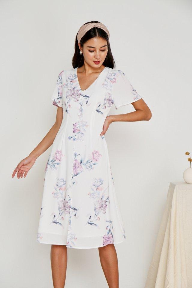 Levona Floral Button Midi Dress in White