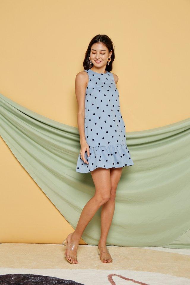 Viola Polka Dot Dropwaist Dress in Powder Blue