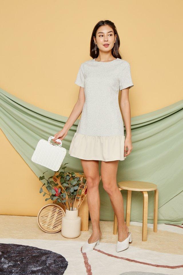Quinn Tweed Dropwaist Dress in Ecru
