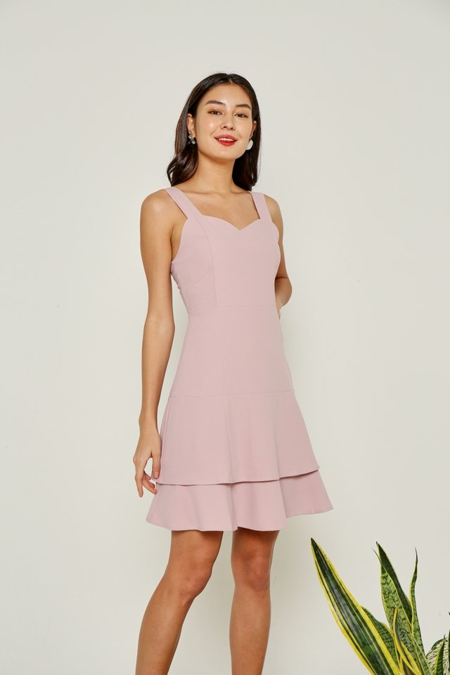 Savannah Tiered Hem Dress in Pink
